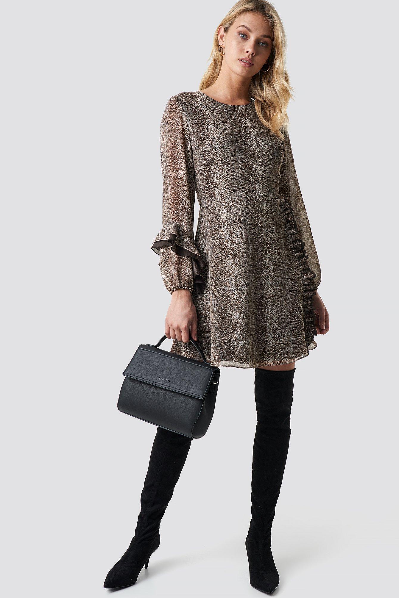 Frilly Patterned Midi Dress NA-KD.COM