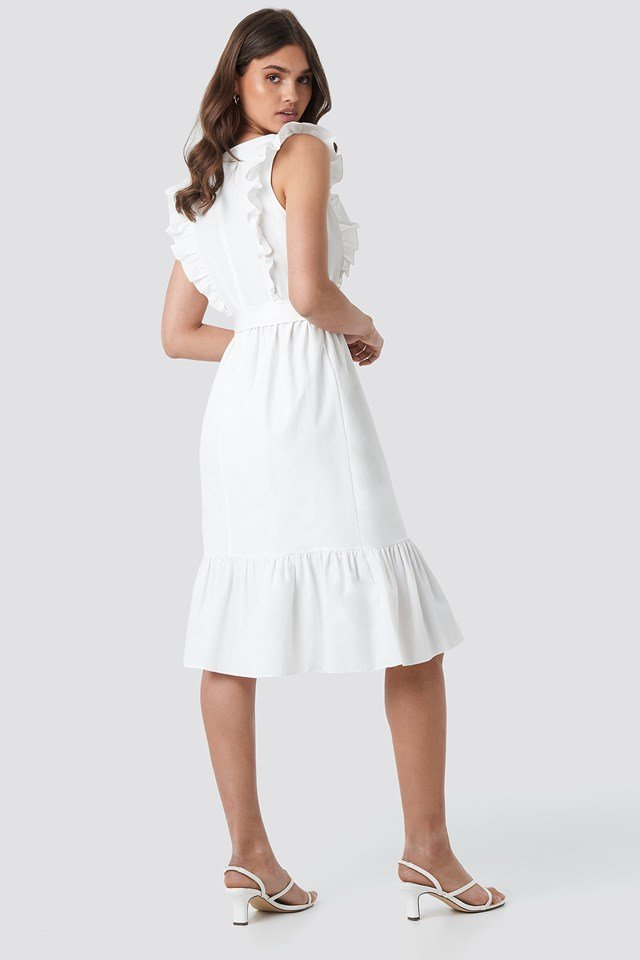 Frilly Sleeveless Midi Dress Ecru