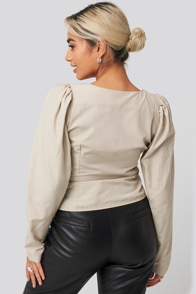 Front Bead Detail Blouse Stone