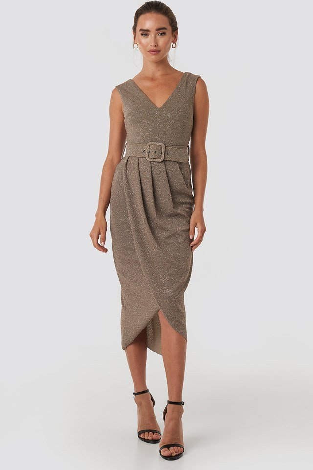 Front Belt Midi Dress Mink