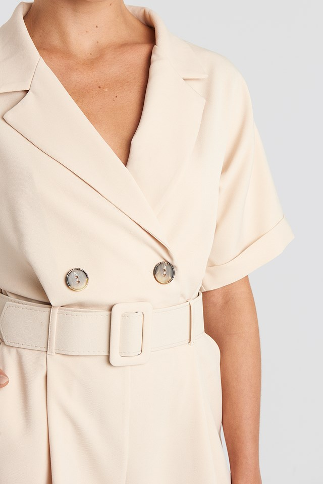Front Button Belted Playsuit Stone