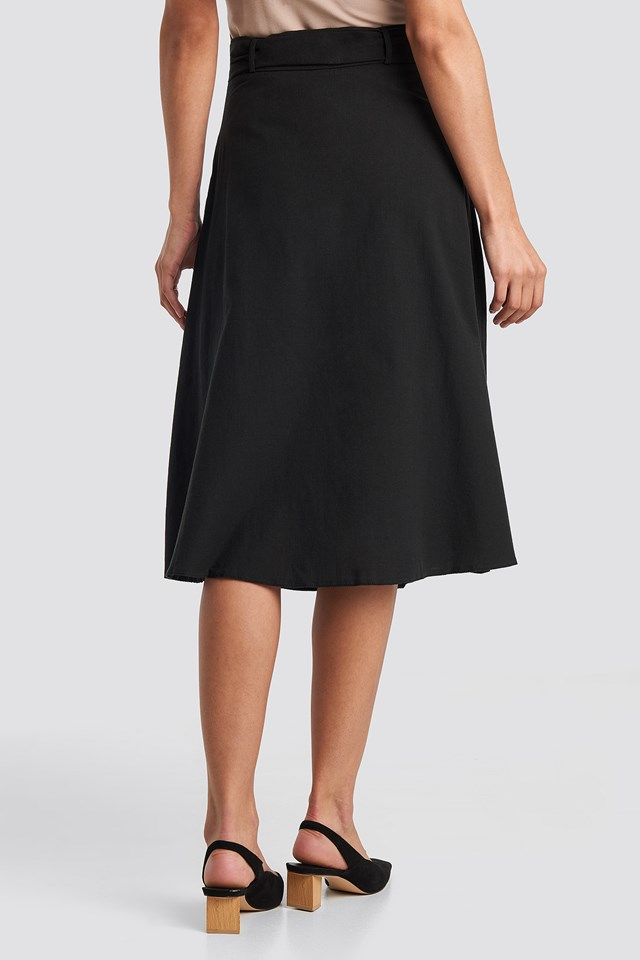Front Button Belted Midi Skirt Black