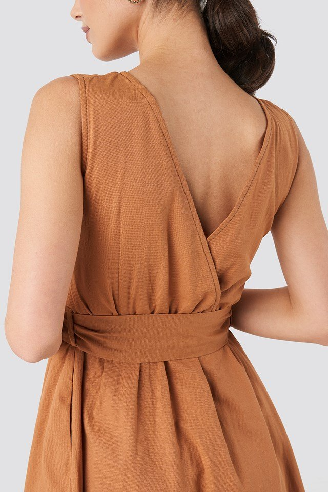 Front Button Binding Detailed Midi Dress Camel