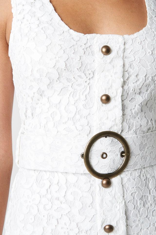 Front Button Detailed Midi Dress Ecru