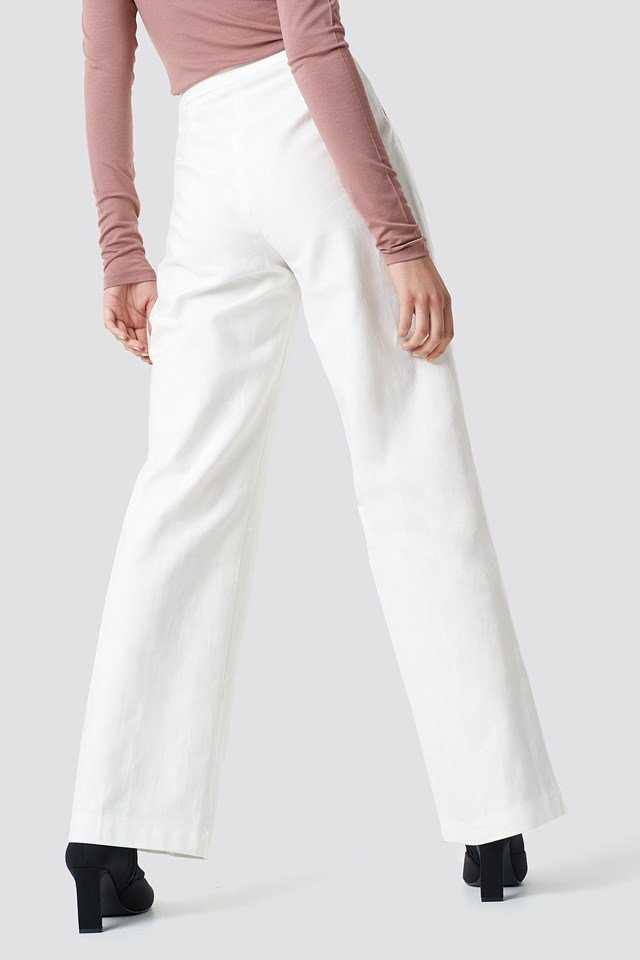 Front Button Detailed Trousers White