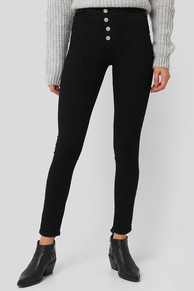 Front Button High Waist Skinny Jeans Black