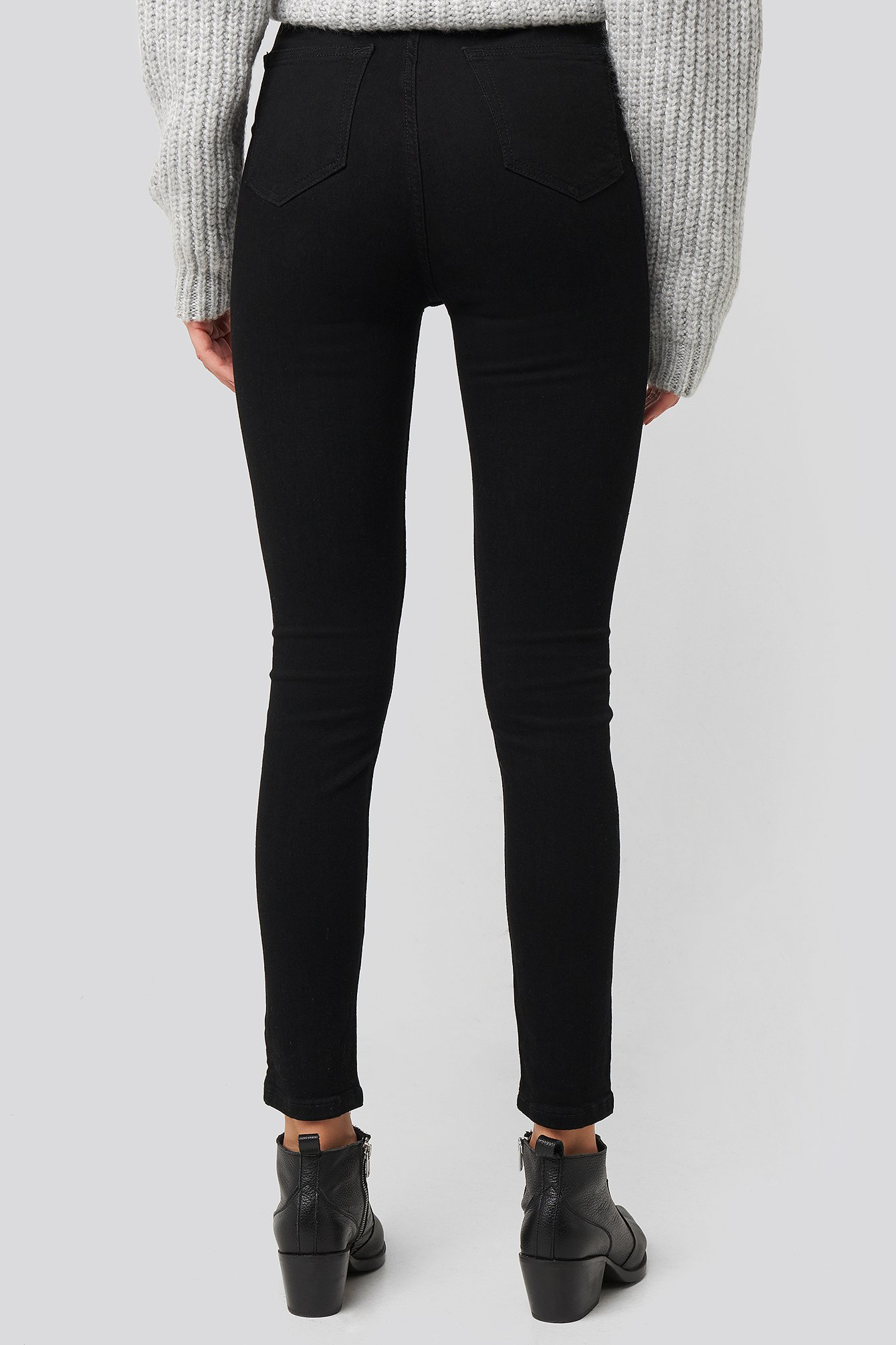 Black Front Button High Waist Skinny Jeans