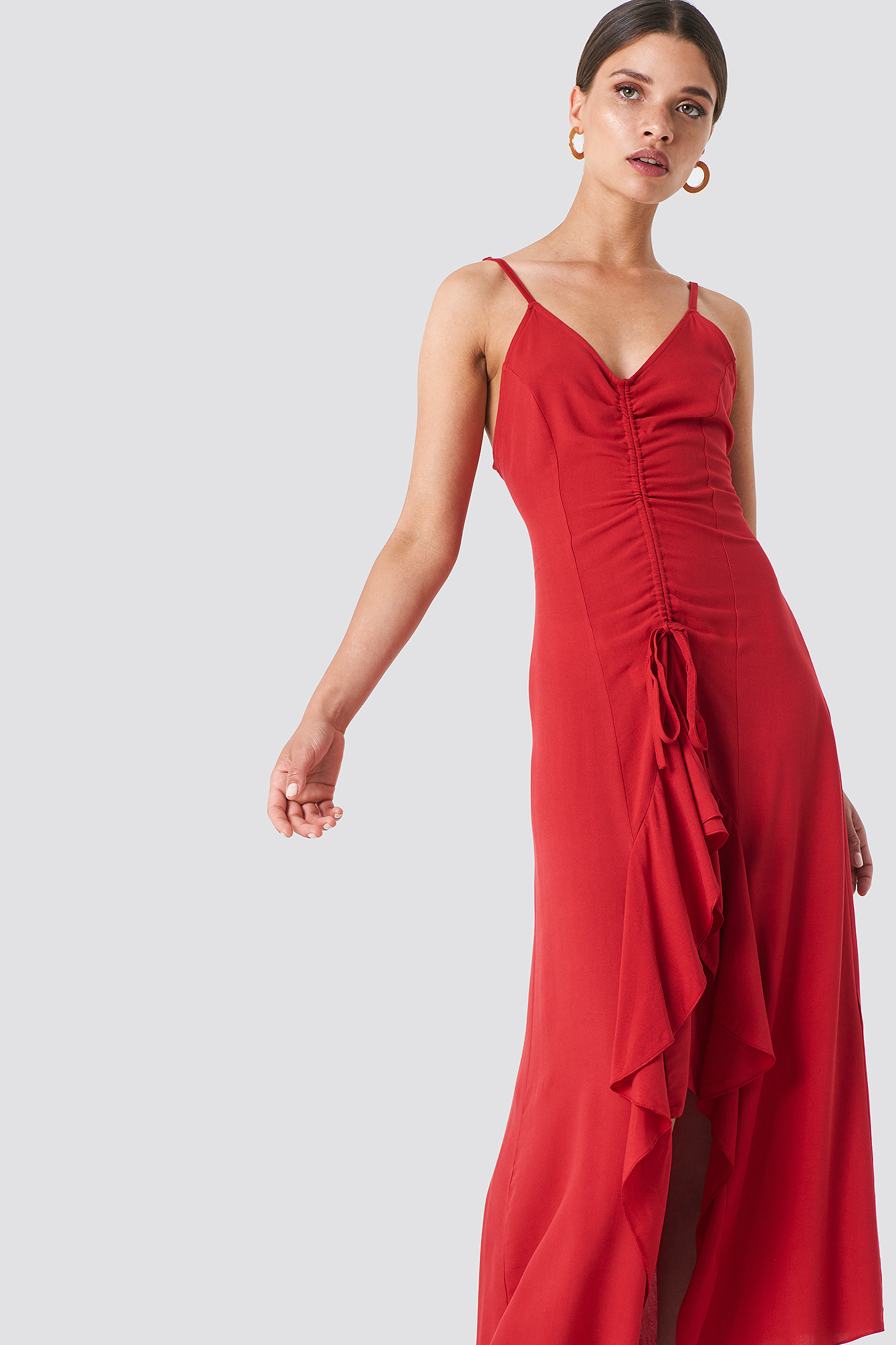 Red Front Drawstring Dress