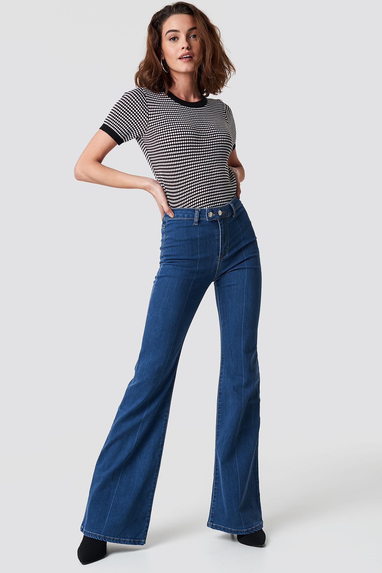 trendyol -  Front Line Detailed Flare Jeans - Blue