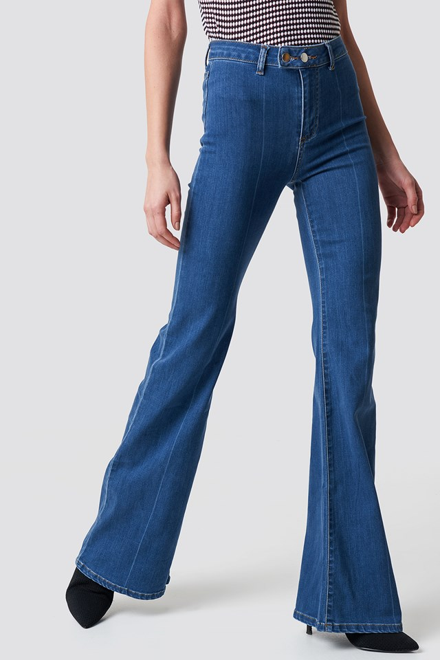 Front Line Detailed Flare Jeans Blue