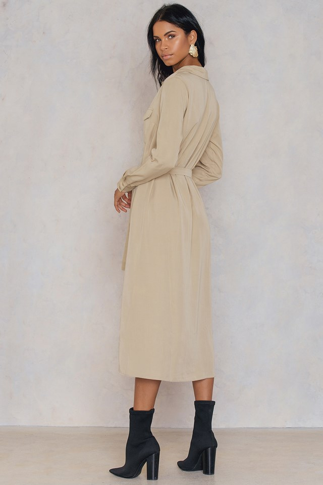 Front Pocket Shirt Dress Beige