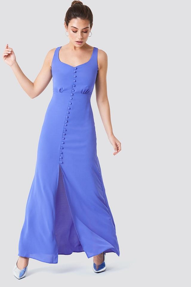 Buttoned Front Slit Dress Blue