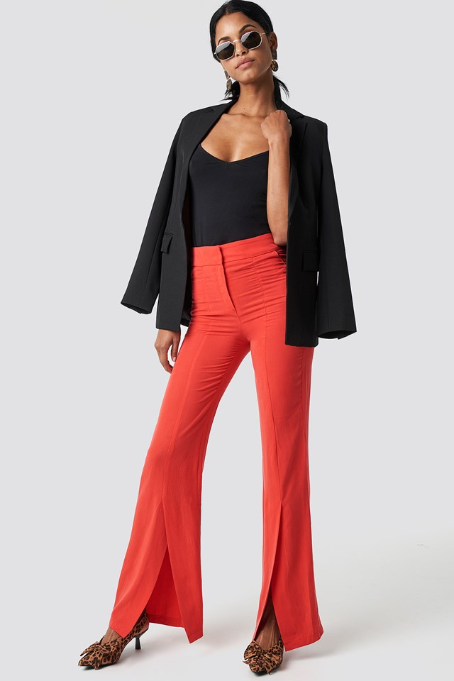 Front Slit Trousers Red