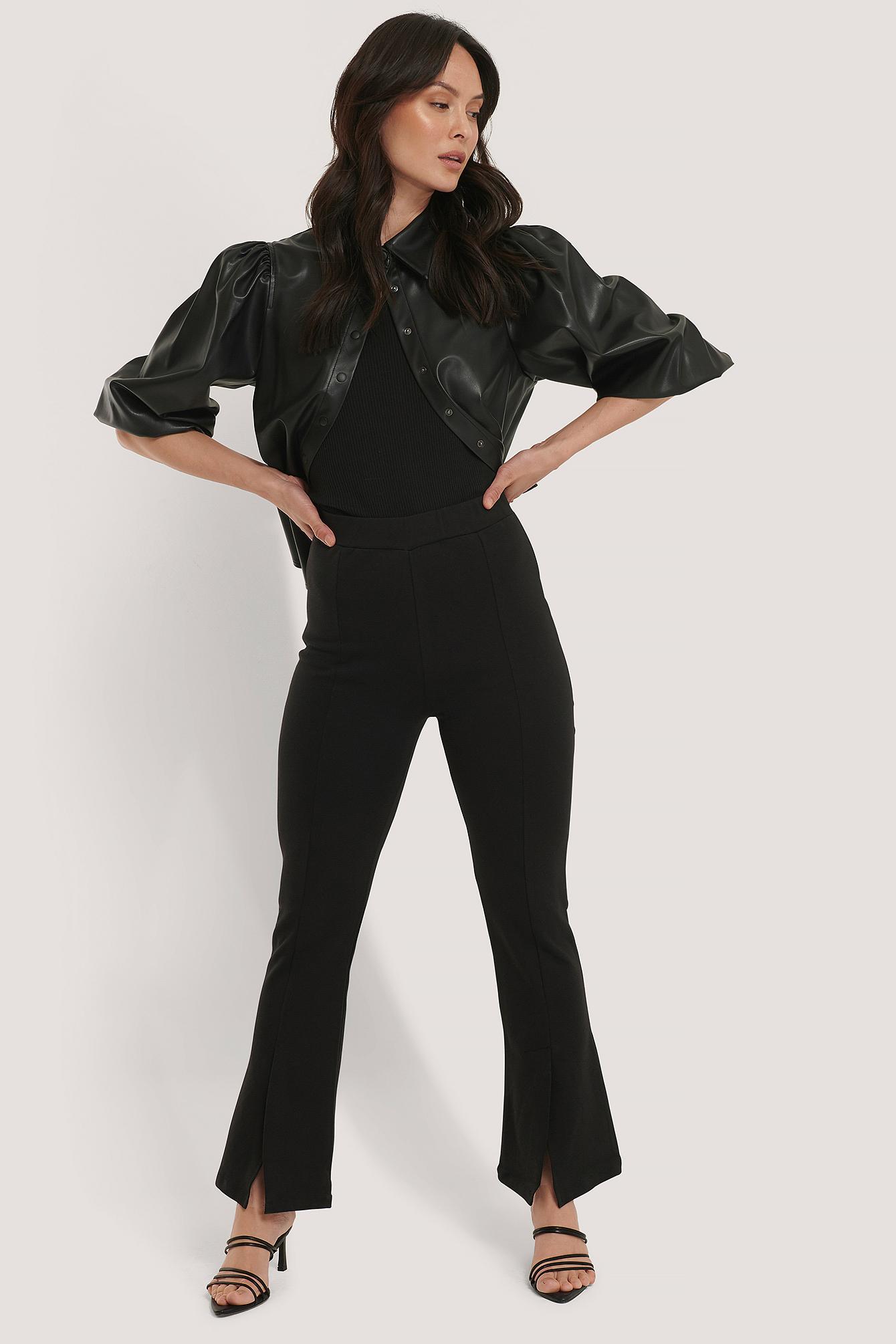 trendyol -  Hose Mit Hochgeschnittener Taille - Black