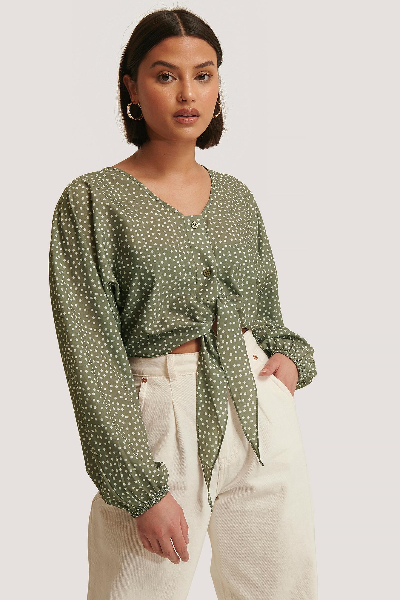 trendyol -  Bluse Mit Schnürung Vorne - Green