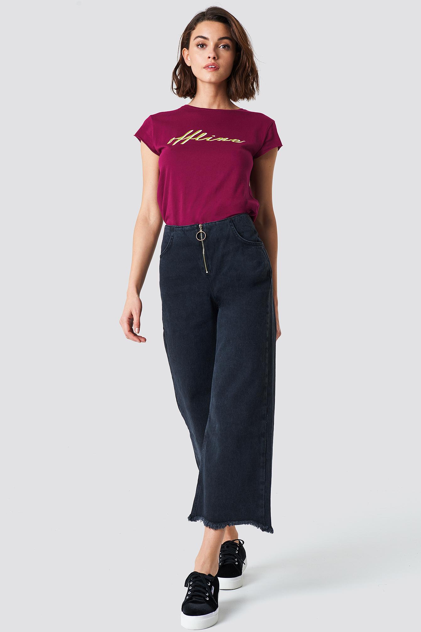 trendyol -  Front Zip Culotte Jeans - Black