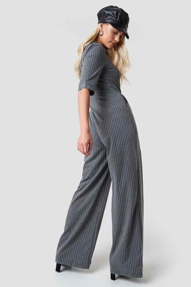 Front Zip Wide Leg Jumpsuit Grey
