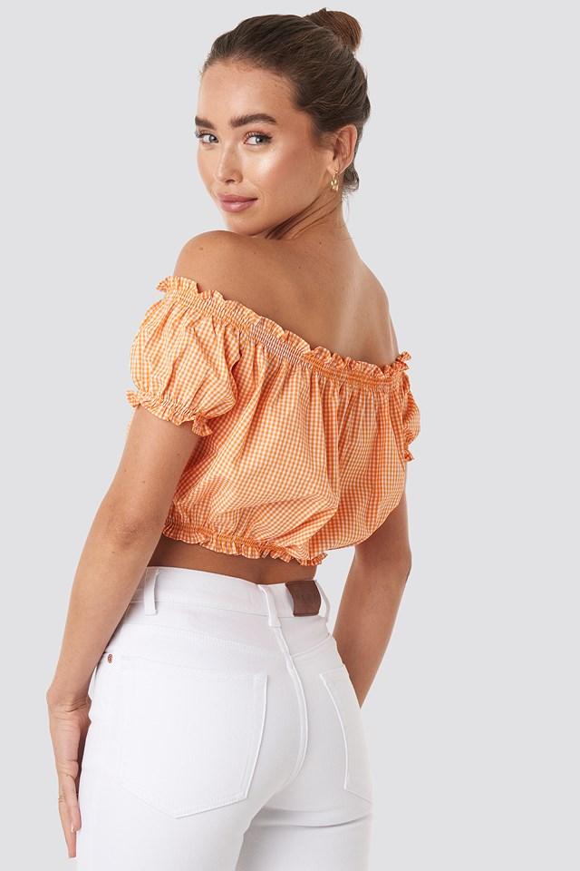 Gingham Frilly Crop Blouse Orange