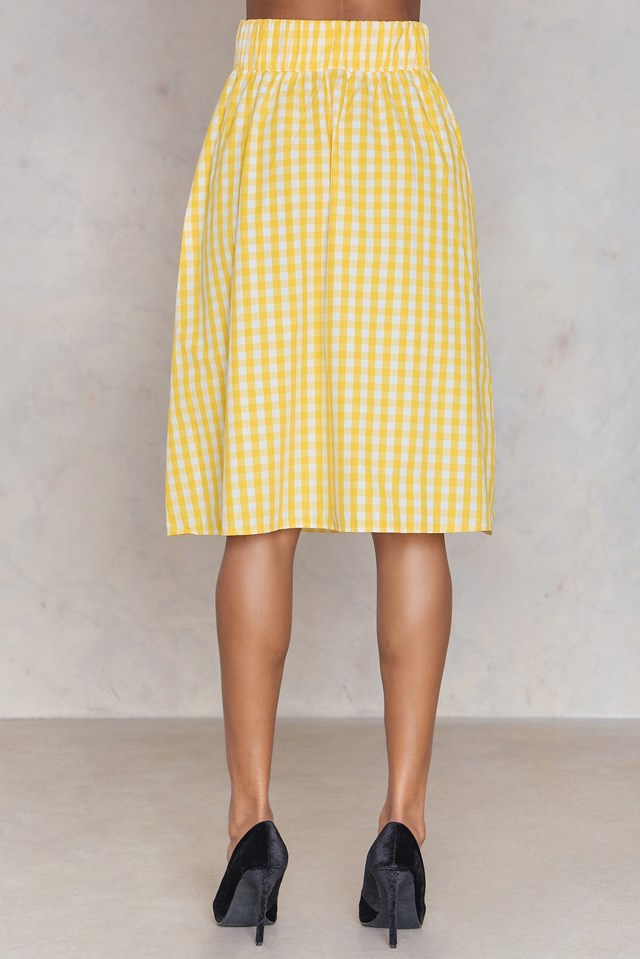 Gingham Tie Waist Skirt Yellow