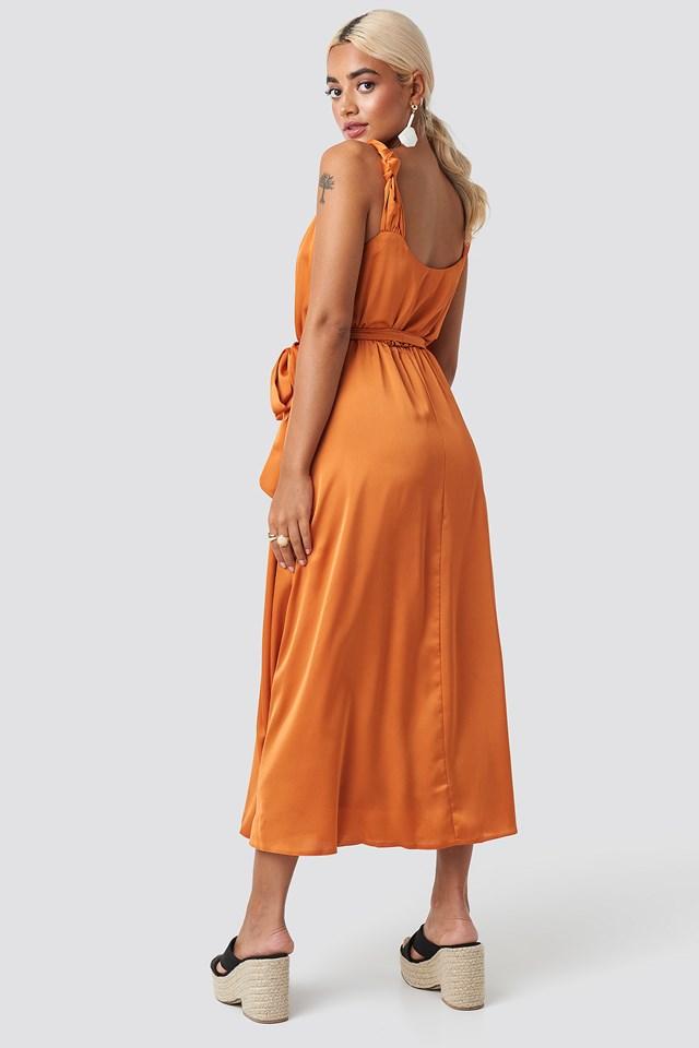 Girdle Detailed Midi Dress Orange