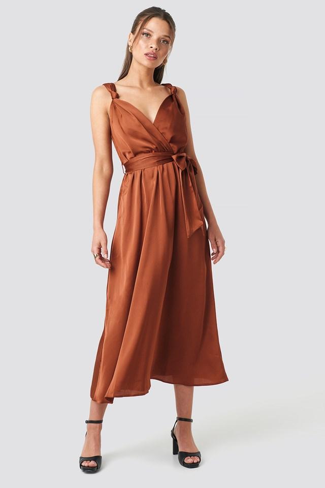 Girdle Detailed Midi Dress NA-KD.COM