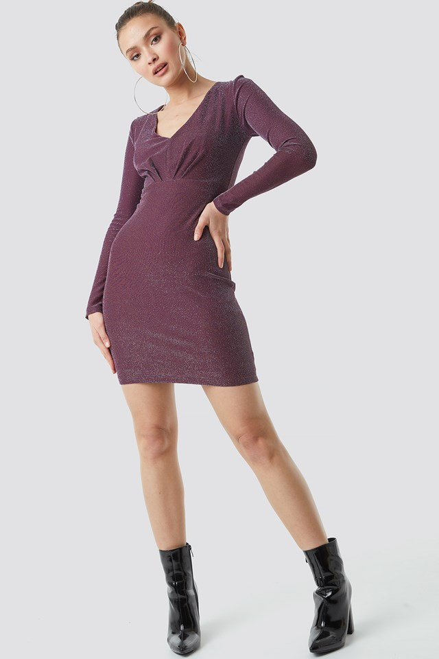 Glittery Mini Dress Burgundy