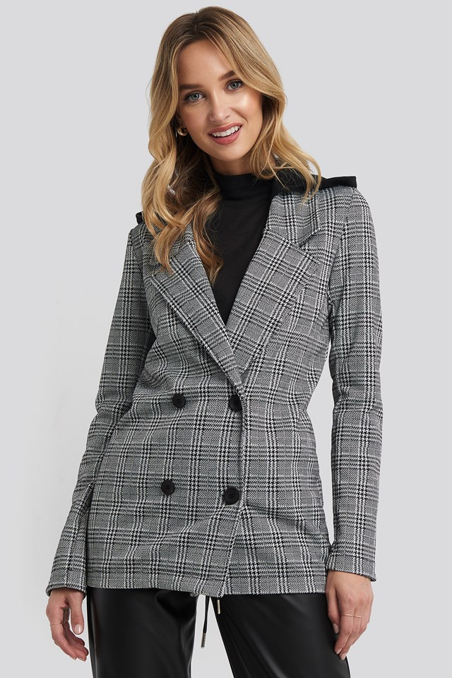 Gray Plaid Blazer Gray