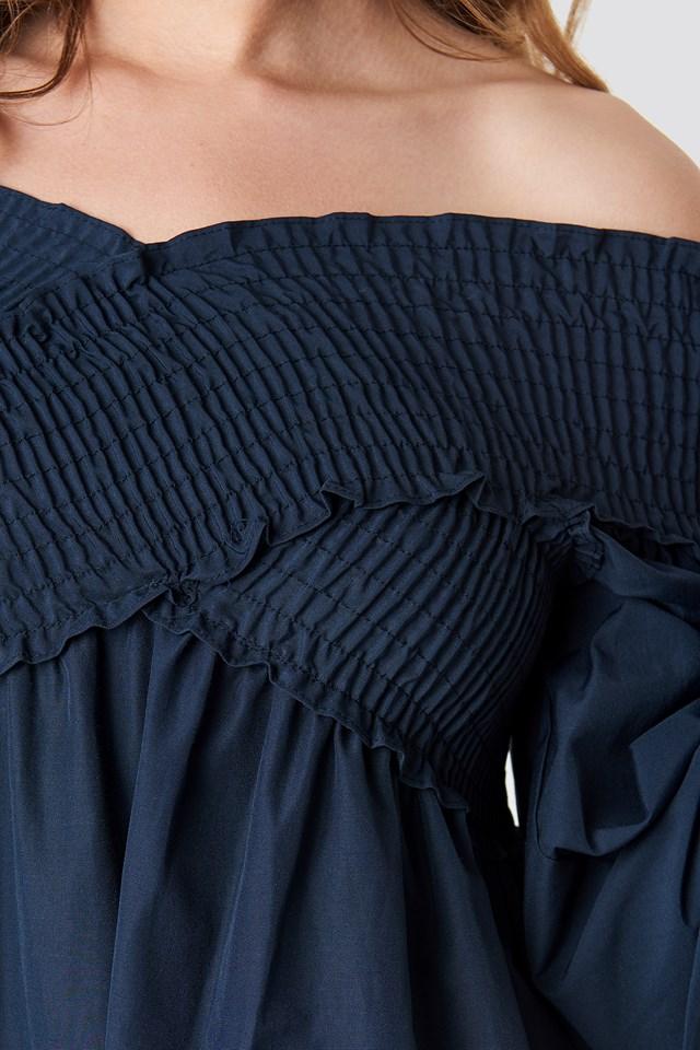 Griped Mini Dress Navy