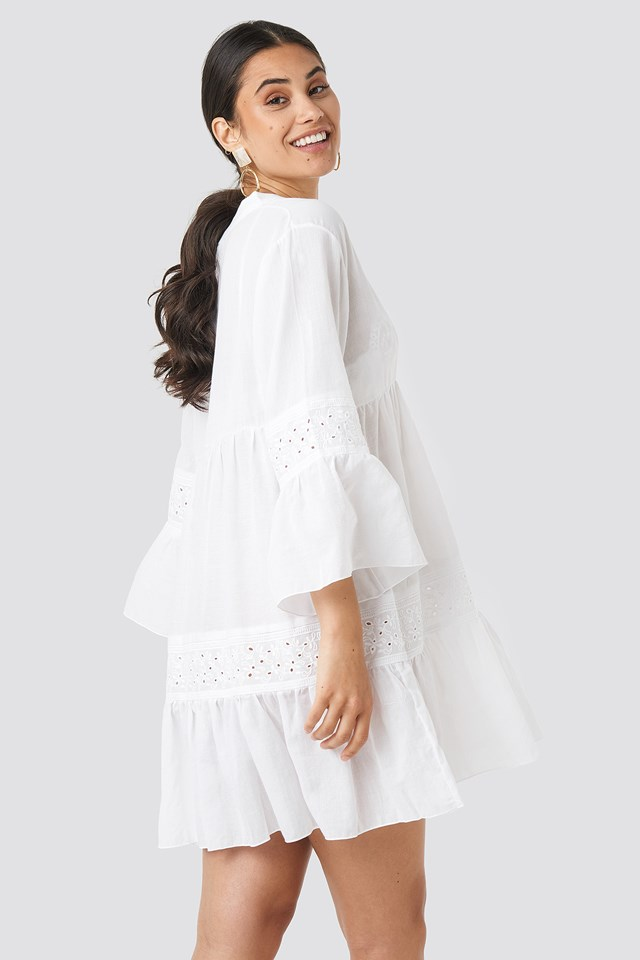 Guipure Detail Dress Ecru