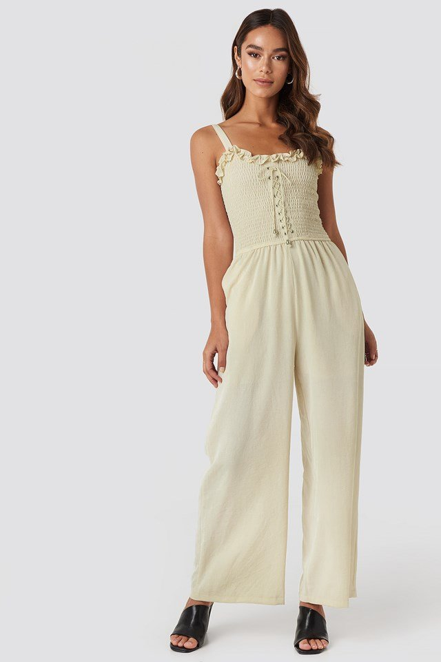 Guipure Frill Detailed Jumpsuit Beige