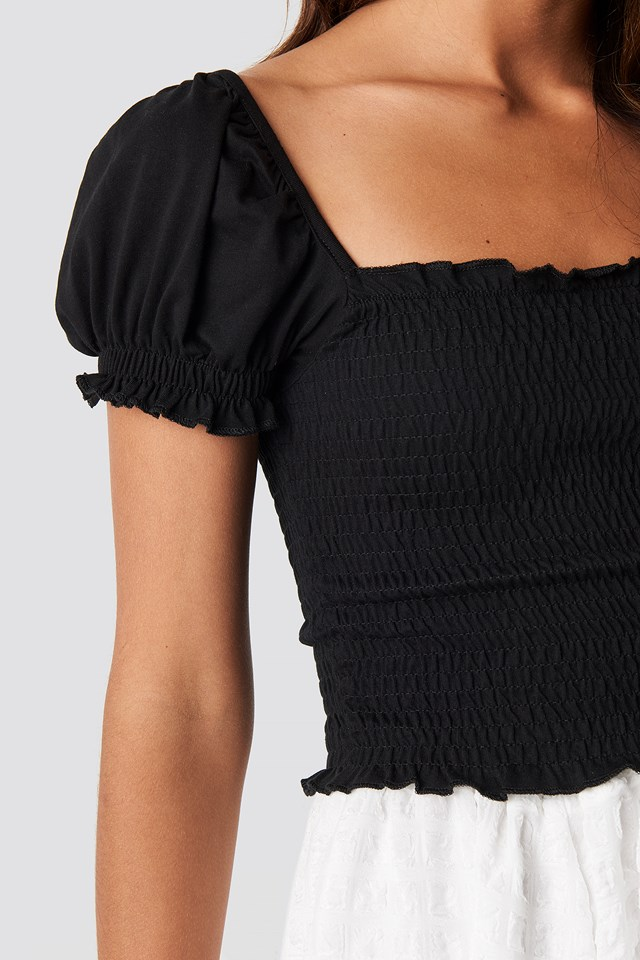 Guipure Shirred Crop Top Black