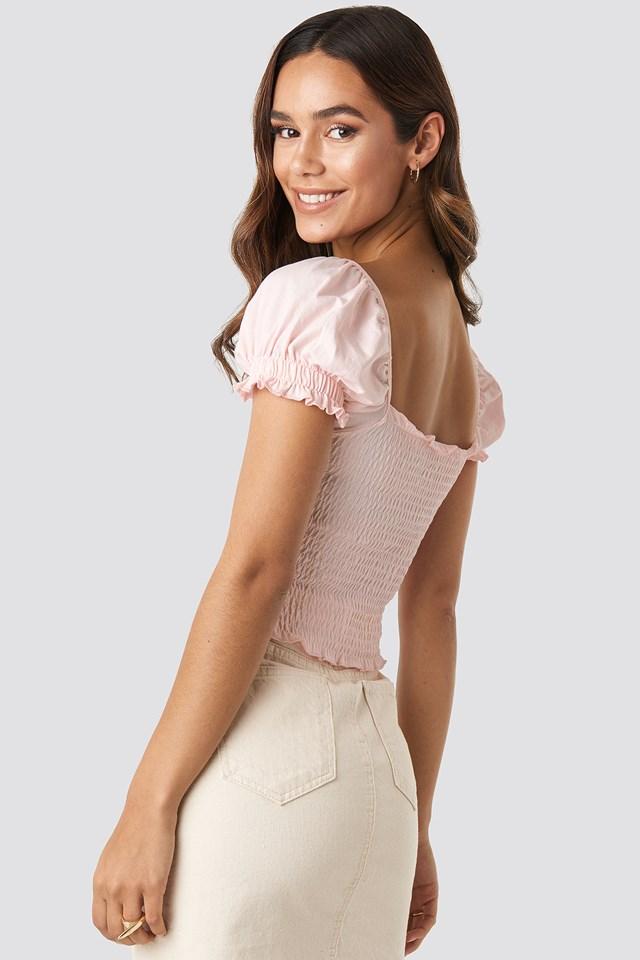 Guipure Shirred Crop Top Powder Pink