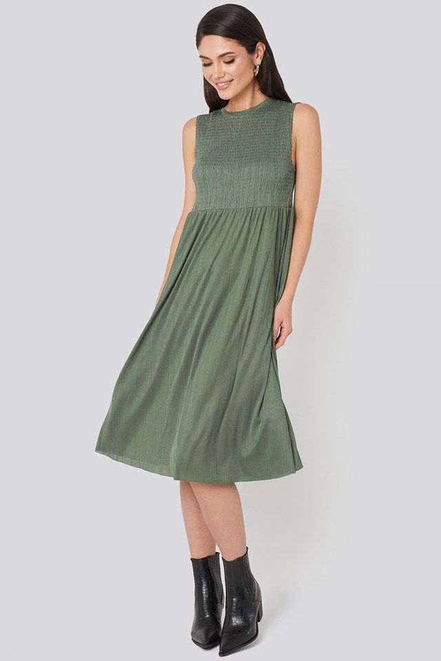 Guipure Shirred Midi Dress Khaki