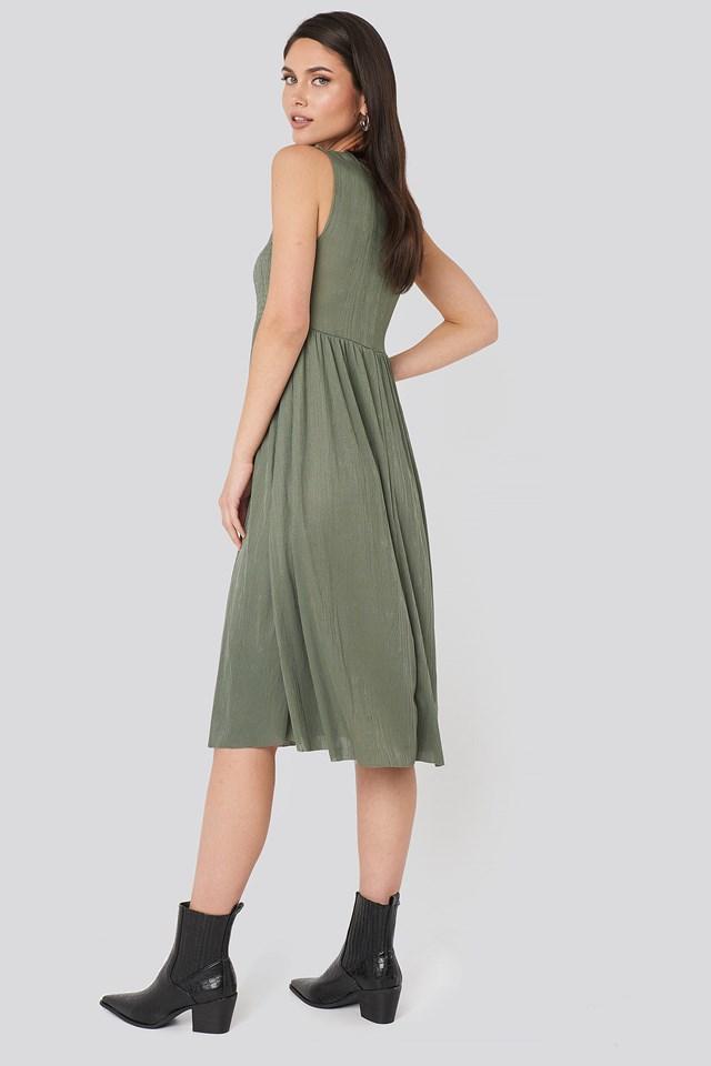 Guipure Shirred Midi Dress Khaki