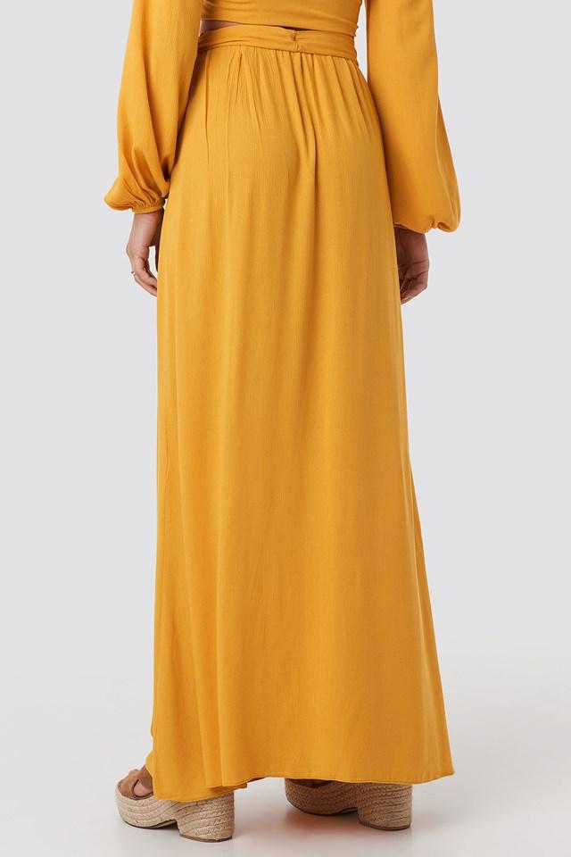 Guipure Viscose Skirt Mustard