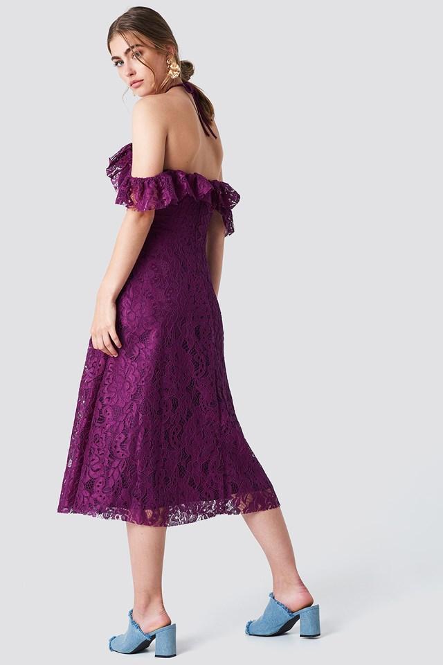 Halter Lace Midi Dress Damson