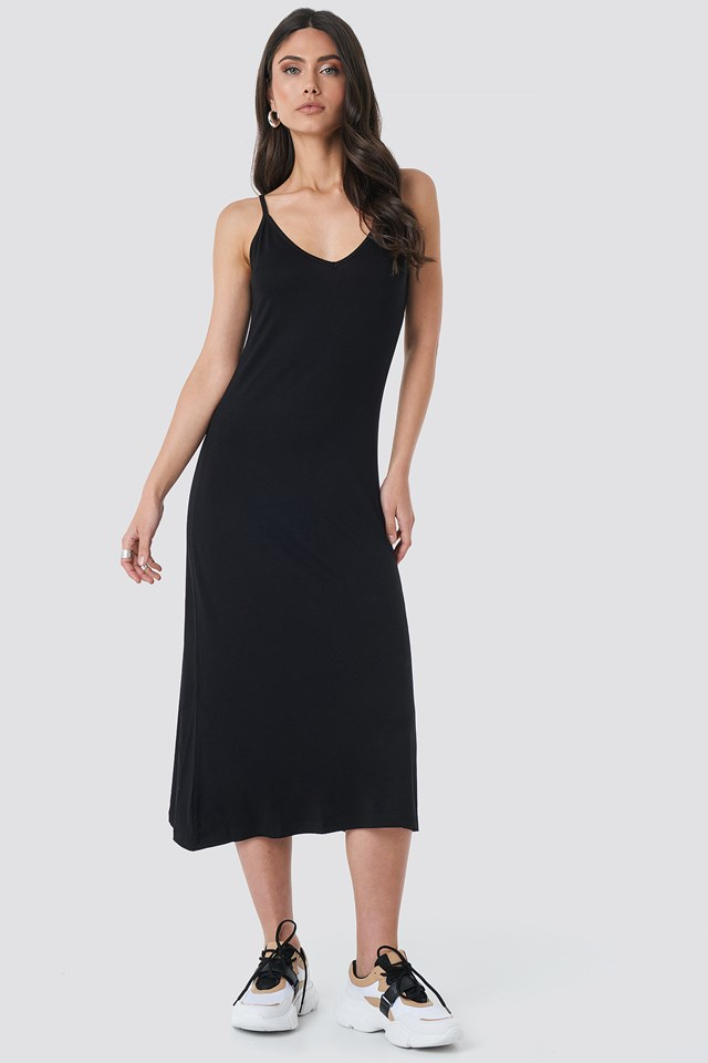 Halter Strap Midi Dress Black