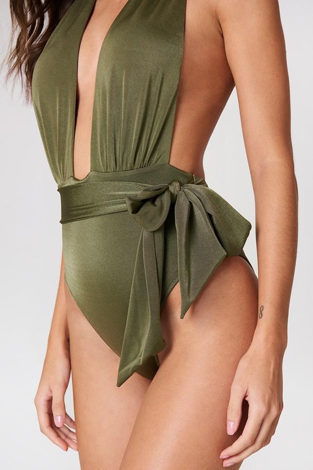 Halter Wrap Swimsuit Khaki
