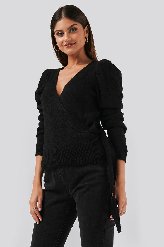 Handles Balloon Sleeve Cardigan Black