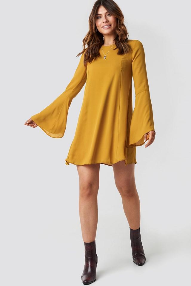 Handles Flywheel Mini Dress Mustard