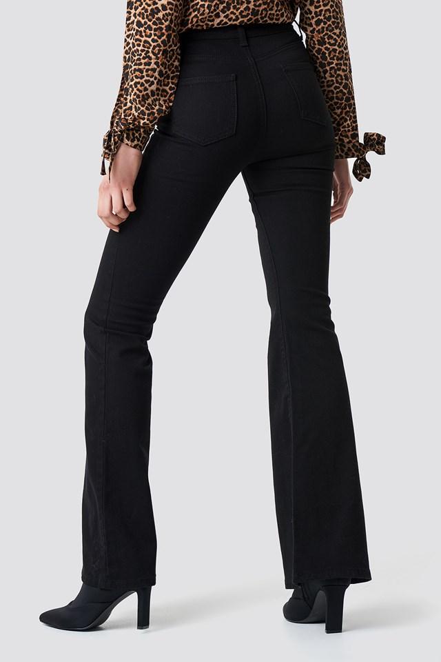 High Belt Flare Jeans Black