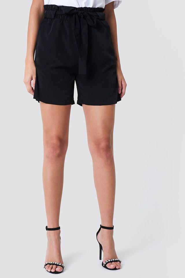 High Belted Shorts Black