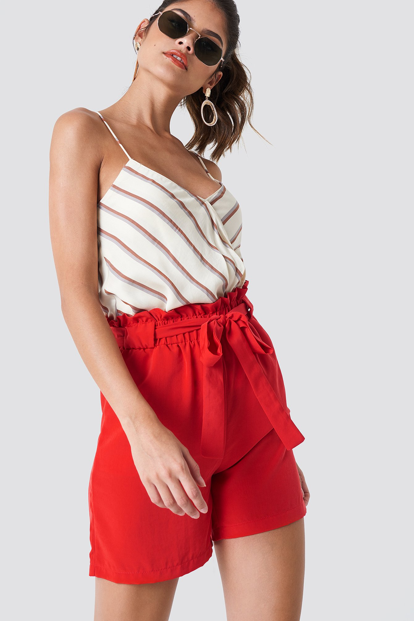 Trendyol High Belted Shorts - Red