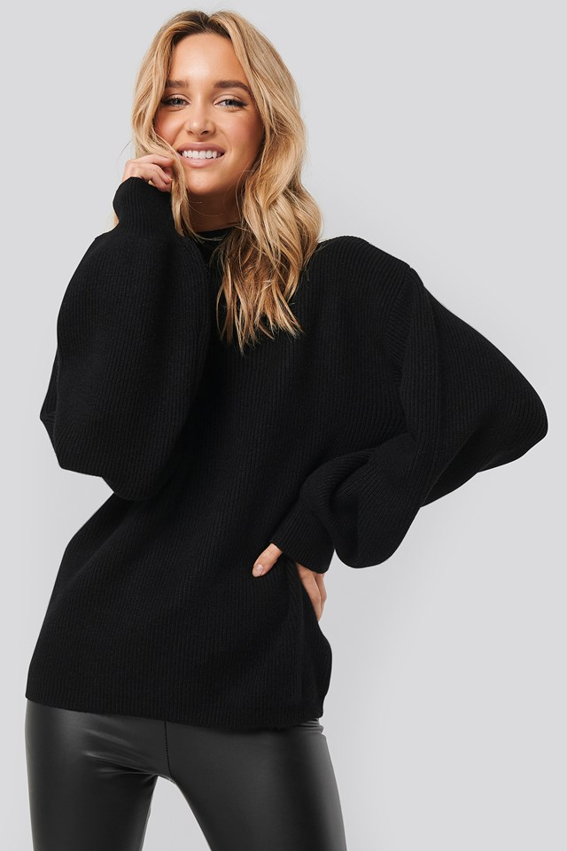 High Neck Big Sleeve Knitted Sweater Black