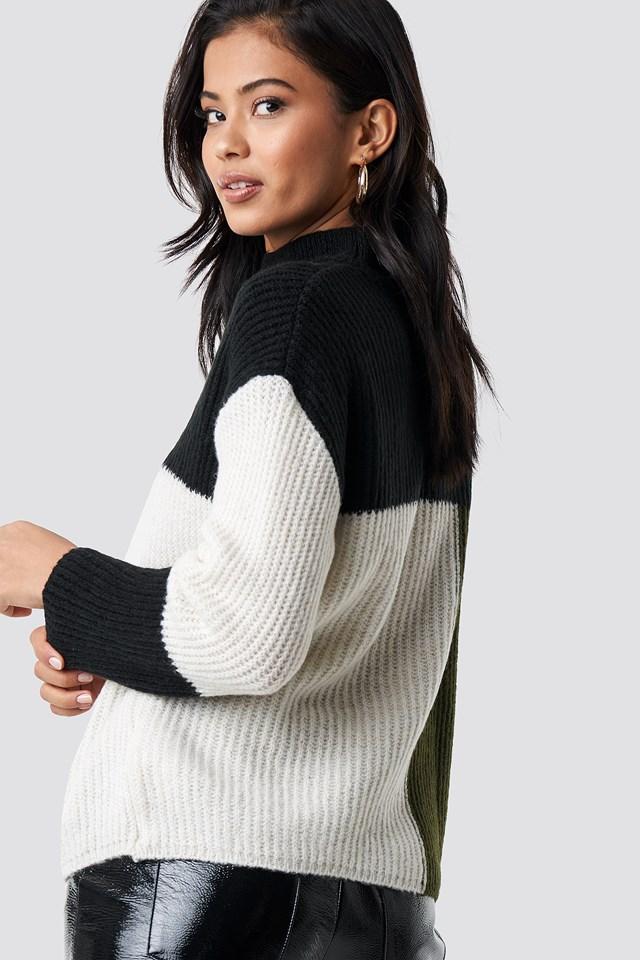 High Neck Color Block Sweater NA-KD.COM