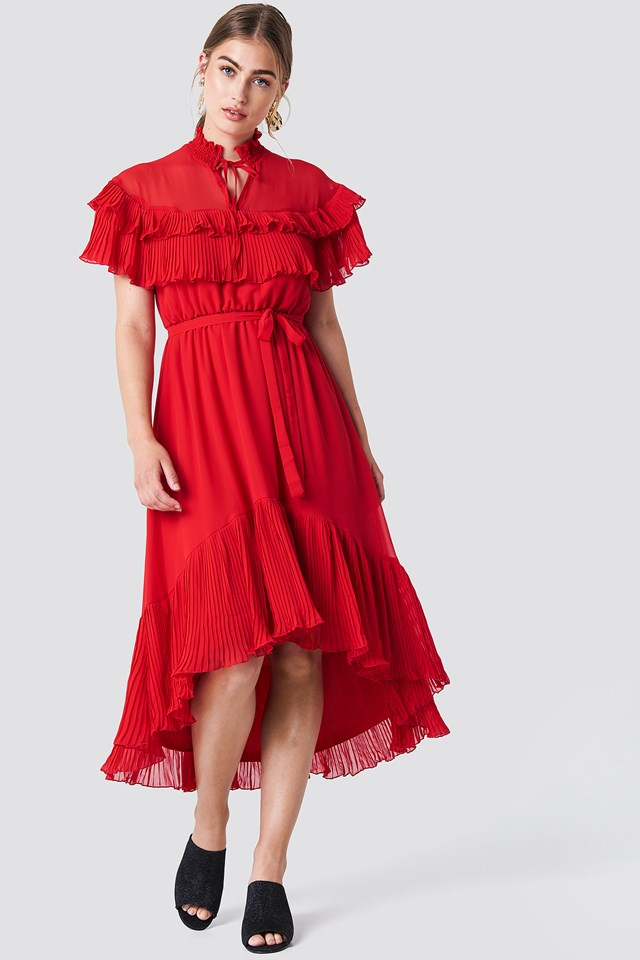 High Neck Frill Midi Dress Red
