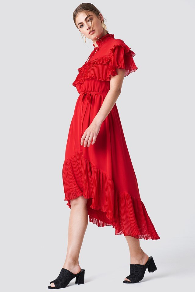 Sukienka midi ze stójką Red