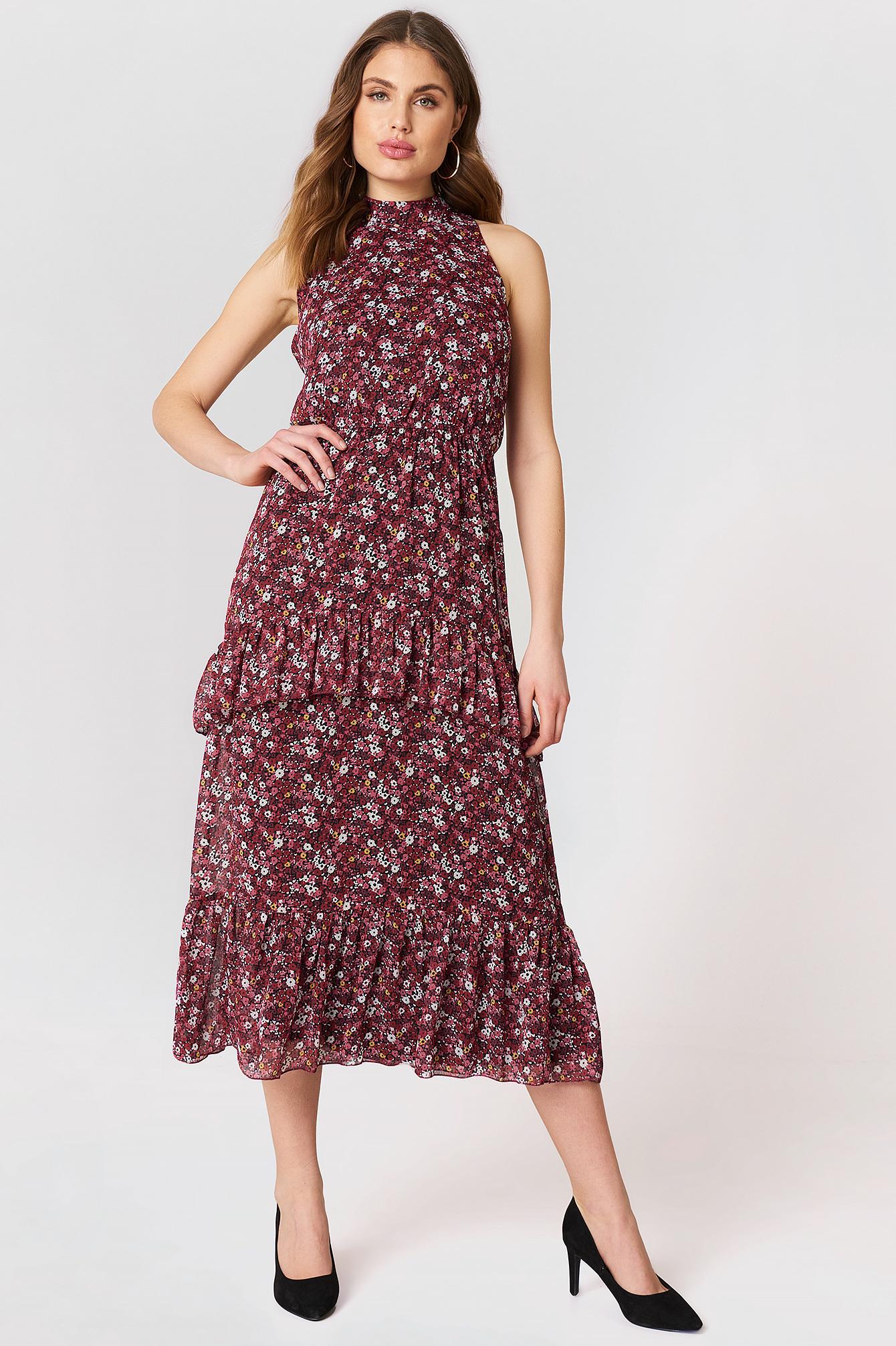 High Neck Frilly Dress NA-KD.COM