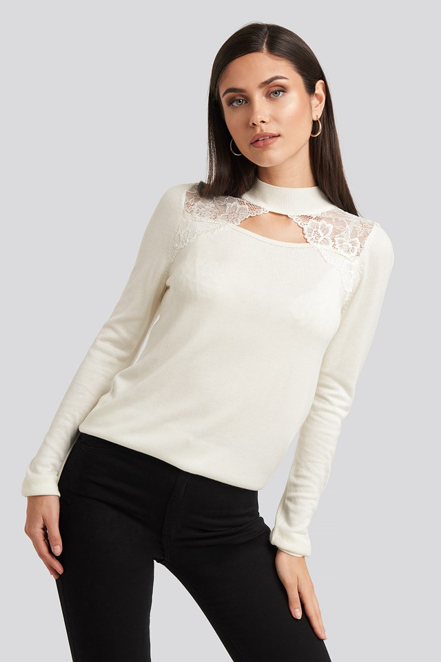 High Neck Lace Detail Top Ecru