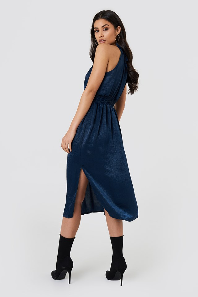 High Neck Midi Dress Indigo